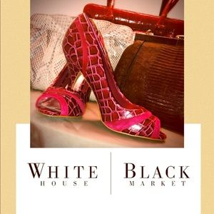 ⚫️WHITE HOUSE BLACK MARKET RED OPEN TOE HEEL